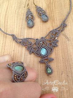 Beautiful macrame set. Labradorit jewelerie set. by ARTofCecilia