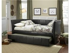 Standard Furniture Bedroom Daybed, Headboard, Rails-Upholstery Black PVC 96251 - Ramsowers Furniture - Plainview, TX