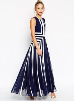 Poliéster Geométrico Sem magas Longo Elegante Vestidos de