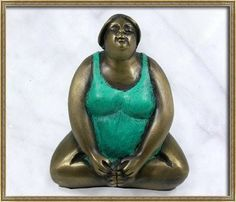 Hand Made Thai Solid Bronze Sculpture Pose Buddha Konasana Yoga Fat Lady