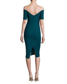 cinq a sept Birch Off-the-Shoulder Sheath Dress, Green Topaz