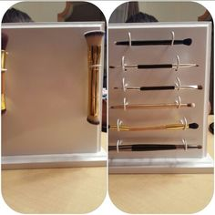 Custom made storage for double-ended make up brushes. Thanks to my very talented husband for this masterpiece.