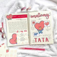 Anatomy of Tata Bullet Journal Aesthetic, Bullet Journal Notebook, Bullet Journal Ideas Pages, My Journal, Bullet Journal Inspiration, Journal Pages, Journal Layout, Bts Book, To Do Planner