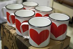 Kaj Franck 6 Enamel Heart Mugs by ChickpeaAvocado on Etsy Be My Valentine, Valentine Day Gifts, Tupperware, Vintage Enamelware, I Love Heart, Cream Roses, Mug Cup, Tea Pots, Red And White