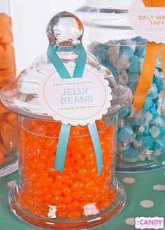 Aqua + Orange Baby Shower Dessert Display by Eye Candy Event Design + Beleza Design
