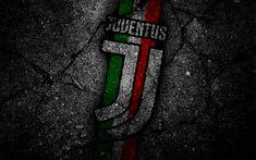 Scarica sfondi Juventus, calcio, logo, Juve, asfalto, Serie A, dark background, nuovo logo del club di calcio