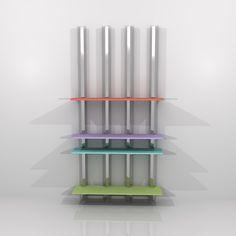 2012 Estantería ENCUENTRO I. Montantes de acero inoxidable y lejas de Krion en cuatro colores. Diseñada por Ernesto Oñate. (Los colores de las lejas varían según la disponibilidad de PORCELANOSA).