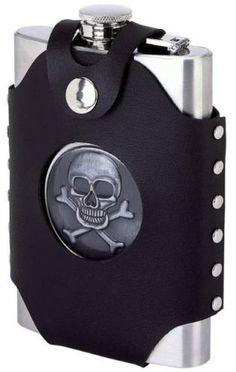 Generic QYUS416Apr1119683435 Steel Alcohol  Cross 8 oz Stainless Skull  Skull  Crossbones oz Sta Cap Pocket Liquor Liquor Flask Screw Cap Pocket Liquor ** Click image for more details.