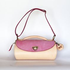 leather bag Medium size pink leather bag natural and by Dalfia, $260.00