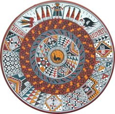 Handpainted Cusco Decorative plate. The geometric designs imitate those found in Incan ceremonial. Handmade and painted in numerous motifs (birds, waves, felines, geometric patterns) using the same style that the incas in Cusco and Machu Picchu used. Diameter: 40 cm platocuz_ca2.jpg (696×691)