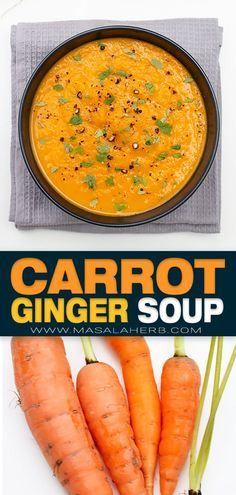 Spiced Carrot Ginger Soup Recipe - Healthy fall inspired soup. Wholesome, flavorful one pot prepared from scratch and so good! Warm up your body and mind with this homemade soup. Easy to prepare and dinner is ready! www.MasalaHerb.com