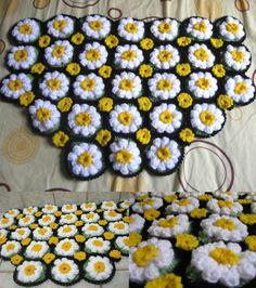 Daisy Rug Free Crochet Pattern with video tutorial - Meladora's Creations