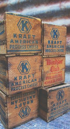 vintage wooden cheese boxes | home decor + storage ideas