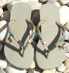 BOHO handmade sandals Turquoise & Bronze beaded Beige Sand Gray Light Golden Havaianas flip flops  You can decorate your hands, ears, neck- but
