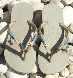 BOHO handmade sandals Turquoise & Bronze beaded Beige Sand Gray Light Golden Havaianas flip flops  You can decorate your hands, ears, neck- but