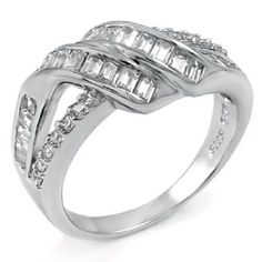 Solid .925 Sterling Silver Princess Round Cut Wedding Band Fashion Ring  #accentfashionring