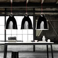 Cecilie Manz Caravaggio Lamp CollectionThe Caravaggio pendant is made of drawn steel and coated with smooth, high-gloss lacquer. The suspension technology is masculine in construction, creating the right counterbalance to the shade's feminine lines.Design:  Cecilie Manz    Manufacturer:  Lightyears