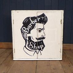 This cheeky painted wood 'Barber Shop' cabinet is the perfect storage solution for any dapper gent!  Love the look? We think this little cabinet would look fantastic displayed alongside one of our barbers shop chairs.  #cheshire #reclamation #salvage #antiques #collectables #vintage #retro #home #garden #design #interiordesign #furniture #antique #design #reclaimed #rustic #industrial