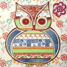 4 Single Lunch Paper Napkins for Decoupage Party Table Craft Vintage Baby Owl