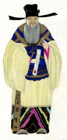 Umberto Brunelleschi (1879 -1949, Italy), 1926, Sacerdote, Costume Design for Turandot Opera by Giacomo Puccini, Teatro dell'Opera, Roma, Pencil, Tempera.