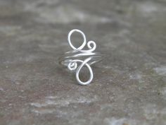 Toe ring whirls sterling silver wire wrapped toe ring by junesky, $9.00