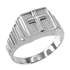 Mens Polished 925 Sterling Silver Layered Band Square Face Christian Cross Ring Size 9 >>> Details can be found by clicking on the image.