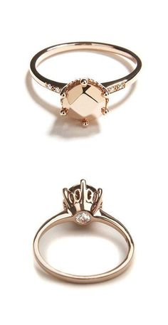 This is a gorgeous alternative to your traditional solitaire. Champagne stone and rose gold, amazing. What is even more amazing is that the diamond is on the underside of the stone for only you and your other half to know about. Such a pretty thought!