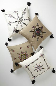 Embroidered Fesi Pillow - mediterranean - pillows - Anthropologie (tassels in the four corners) Pillow Embroidery, Ribbon Embroidery, Embroidery Stitches, Simple Embroidery, Moroccan Decor, Moroccan Style, Cushion Covers, Pillow Covers, Diy Pillows