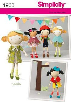CLOTH DOLL PATTERN / Boy and Girl Dolls With by WhatCameFirst, $6.99