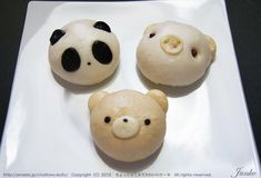 Panda, Piggy, and Bear Buns.  I'd eat the crap out of these!!!! Filled with red bean paste!!!!! Mmmmmmm