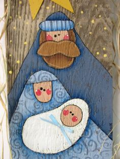 Folk Art Nativity, Tole or Hand Painted on Barn Wood, Rustic Nativity, Reclaimed Wood, Noel Sign, Christmas Sign, Mary, Joseph, and Baby This Nativity Christmas sign is based on a Nancy Halverson design. It has been adjusted and adapted to fit on to a piece of old reclaimed barn wood. These barn wood sign measures 12 inches tall x 5 1/2 inches wide and is 16 inches tall to include the fencing wire. Fencing wire is used as a hanger and has raffia bow decoration tied onto it. Baby Jesus has a…