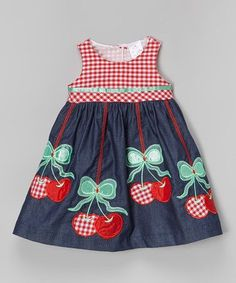 the Silly Sissy Denim & Red Cherry Babydoll Dress - Toddler & Girls Little Girl Dresses, Girls Dresses, Toddler Girl Dresses, Toddler Girls, Girl Doll Clothes, Babydoll Dress, Baby Sewing, Kids Wear, Baby Dress