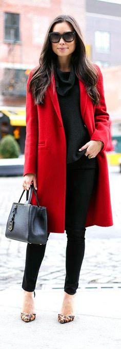 Red Coat - black skinny jeans and michael kors cowlneck sweater with leopard schutz heels