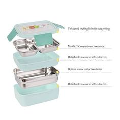 Unichart Kids Lunch Box Bento Box Stainless Steel Food Container Storage Boxes With Spoon For Kids Children Adults Office School tiers,blue Cute Lunch Boxes, Lunch Box Set, Bento Box Lunch, Stainless Steel Containers, Stainless Steel Lunch Box, Food Storage Containers, Storage Boxes, Lunch Ideas, Spoon