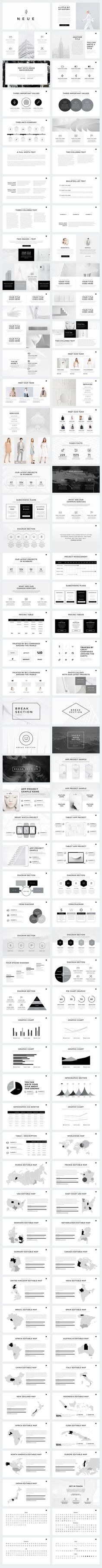 Present your works in a professional and clean way with Neue Minimal PowerPoint Template. This is a simple, contemporary but powerful design that includes creative photo layouts, infographics, tables, vector icons, maps, diagrams and tons of great features to show your work and your company profile on another level.: