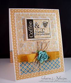Coffee themed thank you note using supplies from The Stamp Simply Ribbon Store.
