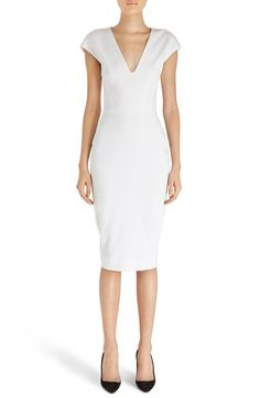Victoria Beckham Cap Sleeve Cotton Blend Sheath Dress available at #Nordstrom