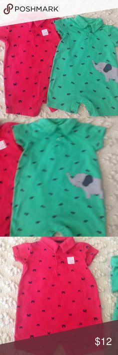 2 Baby Boy One Piece Short Sleeve Outfits Carters brand worn twice each- one is Coral with crabs and one is Green with elephants Carter's One Pieces
