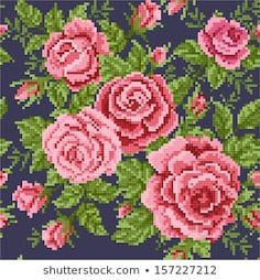 Imagens, fotos stock e vetores similares de seamless abstract floral background with bouquet of the roses, embroider - 215887738 Cross Stitch Boarders, Cross Stitch Designs, Banner Printing, Rose Bouquet, Vector Art, Royalty Free Stock Photos, Floral Wreath, Clip Art, Illustration