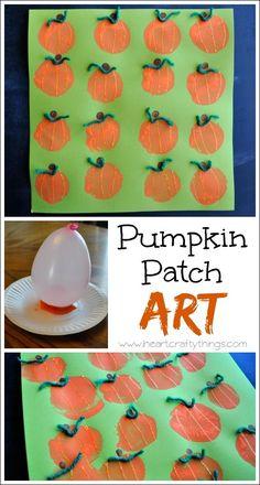 Pumpkin Patch Art | Make pumpkins with balloon prints | www.iheartcraftythings.com #halloweencrafts #kidscrafts