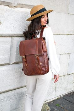 Womens leather rucksack, Personalized leather, Laptop leather backpack, Large travel backpack for women in Brown Full Grain leather Vintage Leather Backpack, Leather Bags, Leather Backpacks, Leather Briefcase, Pink Leather, Personalized Backpack, It Goes On, Large Women, Casual Bags
