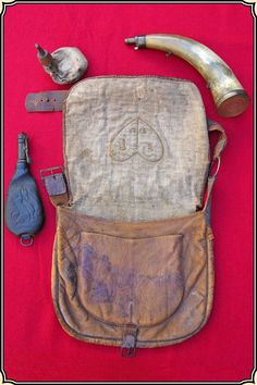Original antique hunting pouch and powder horn