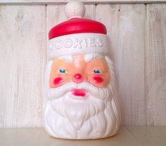 1973 Carolina Enterprises Plastic Blow Mold Santa Cookie Jar