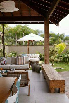 Rustic Pergola, Design Exterior, Outdoor Living, Outdoor Decor, Outdoor Furniture, Pergola Designs, Home Design Plans, Tropical Houses, Backyard Patio