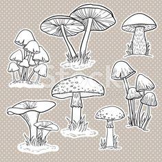 Векторный набор с грибами роялти-фри стоковый вектор искусства