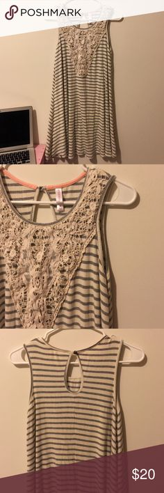 Striped Crochet Swing Dress White Gray Perfect condition. Nice stretchy material Xhilaration Dresses Mini
