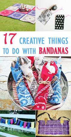 17 creative things to do with Bandanas - Fabric Crafts Diy And Crafts Sewing, Crafts To Sell, Fabric Crafts, Crafts For Kids, Arts And Crafts, Diy Crafts, Paper Crafts, Sell Diy, Felt Crafts
