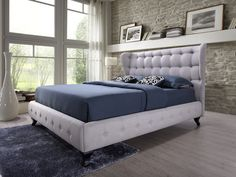 Baxton Studio Bellissimo Modern and Contemporary Grey Fabric Upholstered Button-Tufted Queen Size Platform Bed with Black Classic Legs, Size: Queen Queen Size Platform Bed, Platform Bed Frame, Upholstered Platform Bed, Upholstered Beds, Wingback Headboard, Headboard And Footboard, Sophisticated Bedroom, Sophisticated Style, Headboards