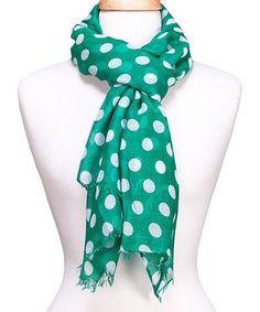 Green & White Polka Dot Scarf