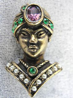 Jeweled Asian Pin Figural Siam Ornate by victoriajamesdesigns, $35.00